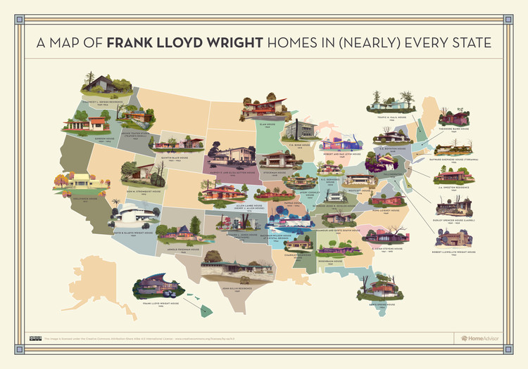 Mapping Frank Lloyd Wright's Creations throughout the United States , © HomeAdvisor