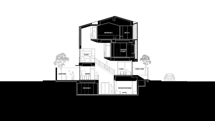 5 section - Cascading House / Nha Dan Architects: Những bức tường bê tông này cung cấp sự riêng tư