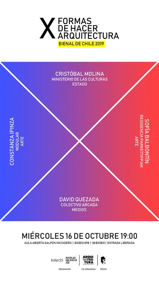 Primera sesión estelar de #XFORMAS en la XXI Bienal de Arquitectura de Chile, Séptima edición de #XFORMAS: Cristóbal Molina, Constanza Ipinza, David Quezada y Sofía Balbontín. Image