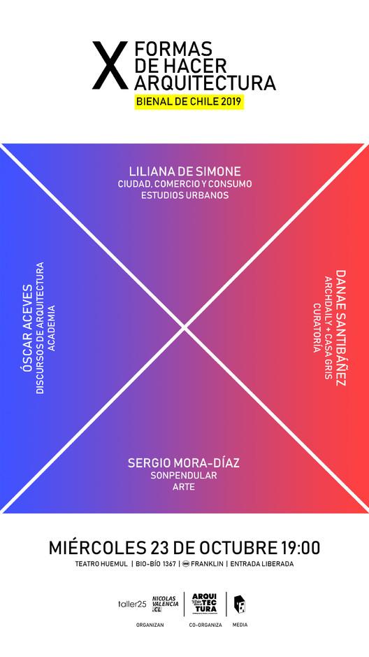 Segunda sesión estelar de #XFORMAS en la XXI Bienal de Arquitectura de Chile, Octava sesión de #XFORMAS: Liliana de Simone, Sergio Mora-Díaz, Danae Santibáñez, Oscar Aceves. Image