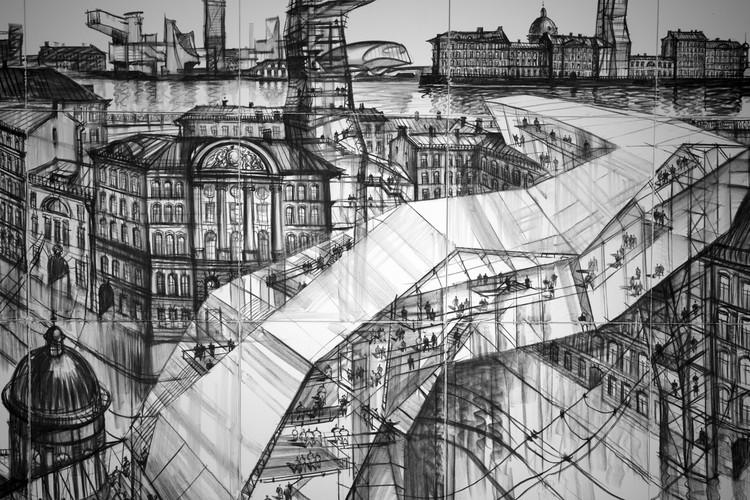 "Movement as a Dream, Sergei Tchoban ""Old New Above"" (Detail), 2019 Charcoal on canvas  Foto: Greg Bannan"