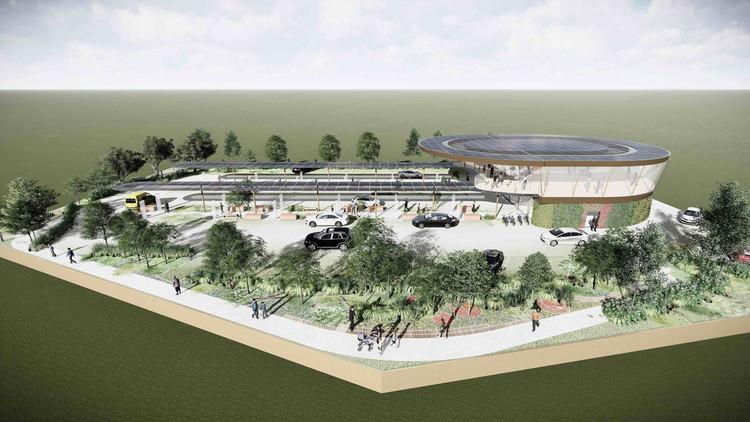GRIDSERVE planea 100 estaciones de carga futuristas en el Reino Unido. Imagen © GRIDSERVE / ARUP