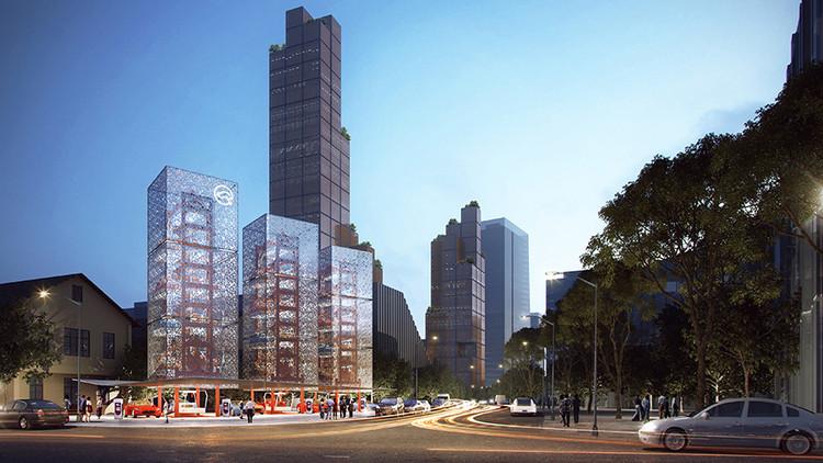 Ennead imagina futuras estaciones de servicio de gran altura. Imagen © Ennead Architects/Ennead Lab