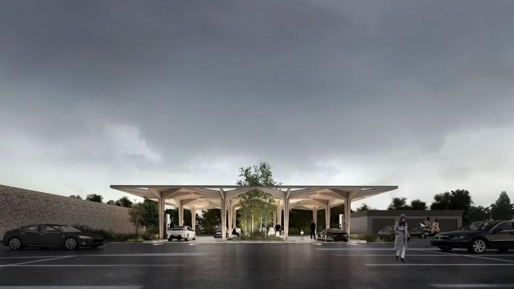 COBE and CLEVER se unen para diseñar nuevas estaciones de carga para autos eléctricos. Imagen © COBE