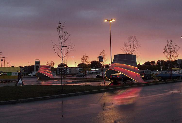 Propuesta ganadora de la estación de carga de vehículos eléctricos: Plug + Play / Arcollab. Imagen © HMMY