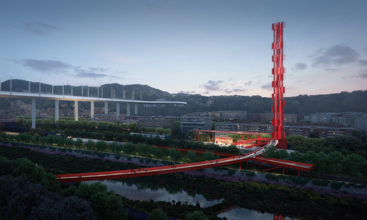 Stefano Boeri-led Team Wins Competition for the Parco del Ponte in Genoa, Stefano Boeri Architetti, Metrogramma Milano, Inside Outside | Petra Blaisse- The Riverfront, the Red Circle and the Wind Tower . Image © The Big Picture, courtesy by SBA