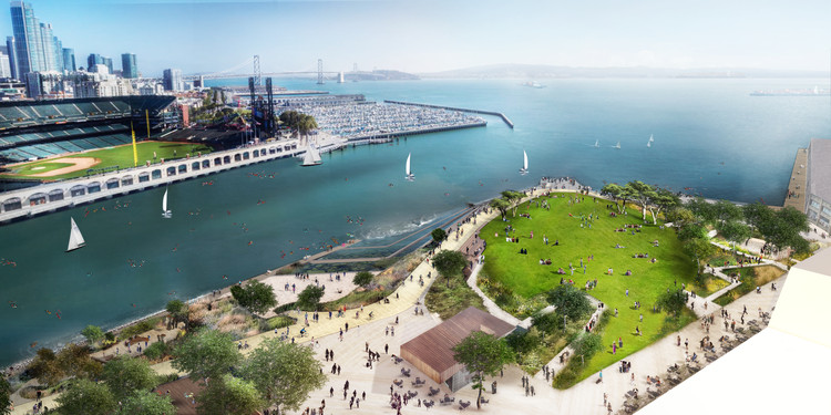 Mission Rock's Collaborative Master Plan to Transform San Francisco's Waterfront, Overview – Daytime . Image Courtesy of Mission Rock/ China Basin Park