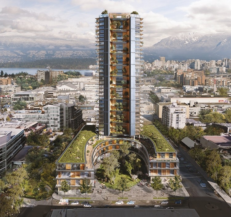Timber Tutorial: How to Build Taller with Wood, Canada Earth Tower is designed to rise 40 stories, and the wooden skyscraper would be the tallest of its kind in the world.. Image Courtesy of Perkins + Will / Delta Land Development