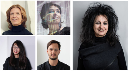 Odile Decq to Lead Grand Jury for 2020 RIBA International Prize, Top left to right: Jeanne Gang (Credit: Saverio Truglia), Es Devlin (Credit: Jasper Clarke), Bottom Left to right: Rossana Hu (Credit: Thierry Coulon), Gustavo Utrabo (Credit: Renato Parada), Centre right: Odile Decq (Credit: Franck Juery). Image Courtesy of RIBA