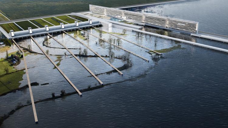© Eric Barr. ImageProyecto de infraestructuras hibridas y viviendas sociales adaptadas a las inundaciones. Llevado a cabo en el estudio y desarrollo del Proyecto Yamuna River.