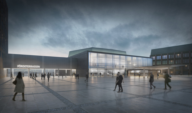 GMP and BBP Refurbish Concert Hall at Kiel Castle, Concert hall at Kiel Castle, perspective of Schlossplatz with view of Förde terraces and entrance. Image © gmp Architekten
