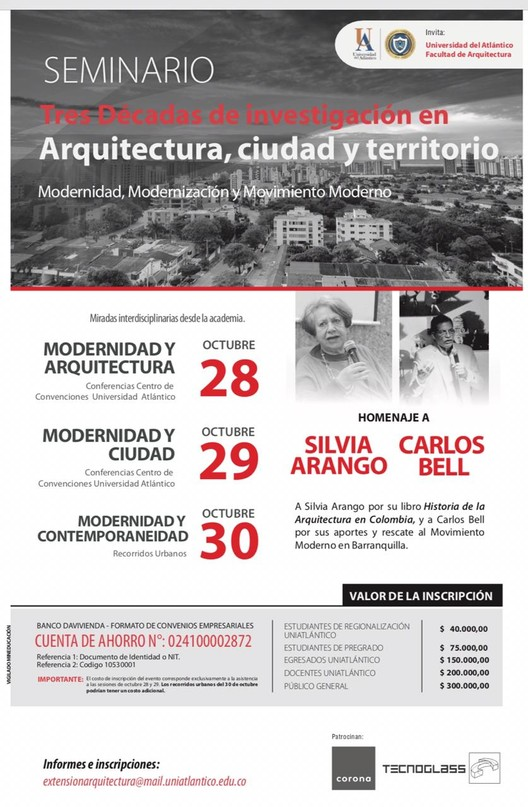 """Seminario """"Tres décadas de investigación en arquitectura, ciudad y territorio"""", Facultad de arquitectura Universidad del Atlántico"""