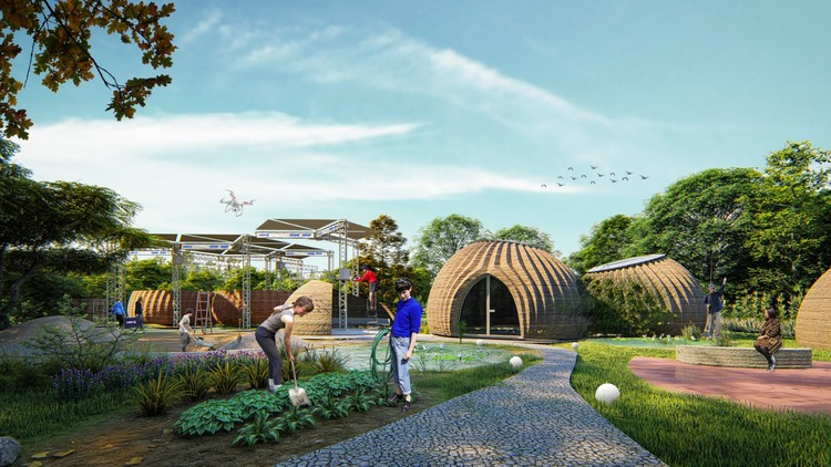 MCA and WASP Design TECLA, a 3D Printed Sustainable Habitat , TECLA3DHouse daytime summer. Image Courtesy of Mario Cucinella Architects