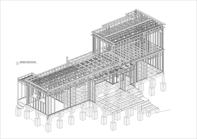Axonometric Design of Metal Structure - Casa Piedra Blanca / Pablo Lobos Pedrals, Angelo Petrucelli. Image