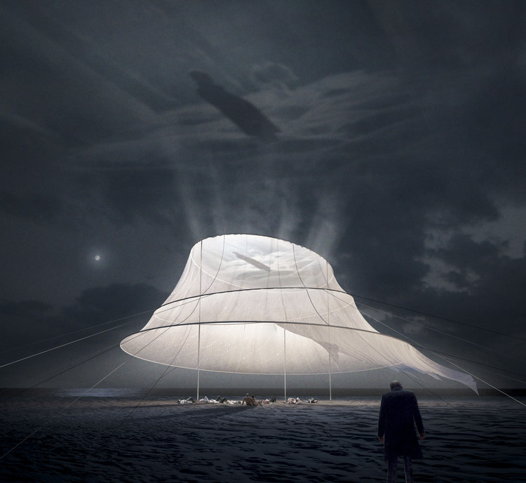 Whimsical Beach Installation Transforms Fabric to Cinema Screen, © KATARSIS Architects