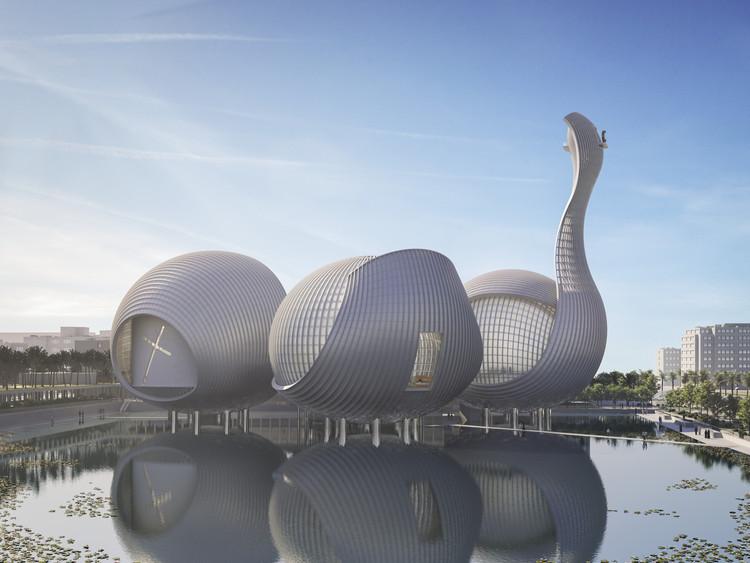 Safdie Architects propõe complexo religioso com mesquita, sinagoga e igreja em Abu Dhabi, © hiresjpg