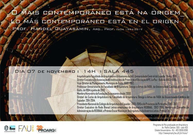 """""""Lo más contemporáneo está en el origen"""": palestra com Handel Guayasamin, cartaz de divulgação. imagem cedida pelo palestrante."""