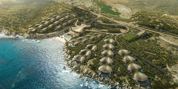 Sordo Madaleno Architects Designs New Hotel for Mexico's Sea of Cortez, Vista aérea. Render por CG Verón. Image © Sordo Madaleno Arquitectos