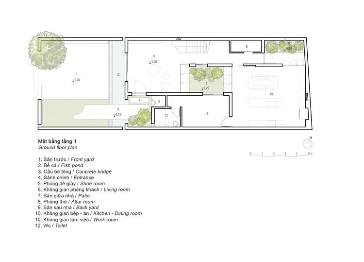 8x24 1st plan - 8x24 House / AHL architects: Được tạo ra bằng cách sắp xếp 4 khối chức năng