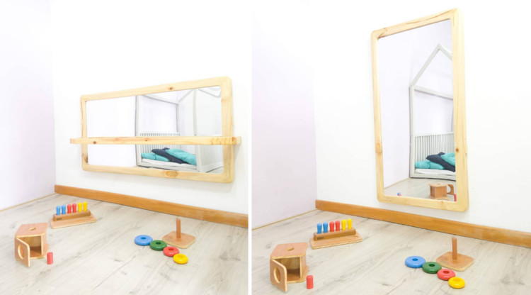 Espelho com Barra Inclusa Ajustável de 0 a 6 anos. Image Cortesia de Smirna Montessori