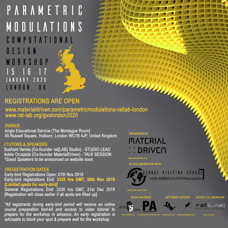 Parametric Modulations: London 2020- Global Visiting School, Parametric Modulations - Computational Design Workshop by MaterialDriven & rat[LAB] EDUCATION