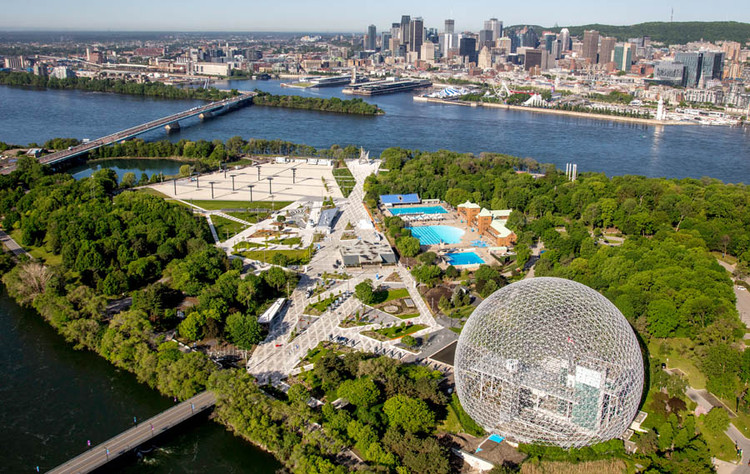 Nuevo diseño de paisaje destaca en conjunto los iconos de la Exposición Universal de Montreal, © Société du Parc Jean-Drapeau