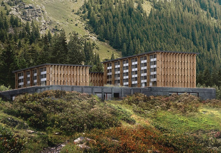 Hesselbrand Unveils Acquarossa Timber Hotel & Spa in Switzerland, Courtesy of Hesselbrand