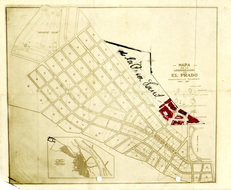 Memorias de El Prado: Arquitectura y Urbanismo en Barranquilla 1920 - 1960, Mapa de la Urbanización El Prado, Barranquilla - Colombia, 1922 (Archivo Karl Parrish, Universidad del Norte). Image Cortesía de Universidad del Norte