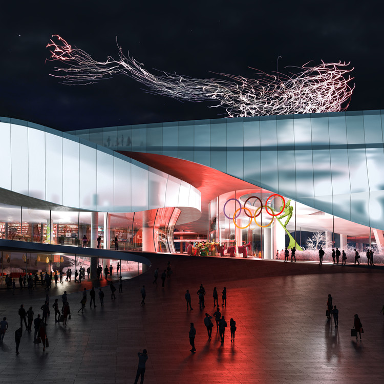 maison h Unveils Beijing 2022 Winter Olympic Museum, OPENING NIGHT, WITH DRONE PERFORMANCE BY DRIFT. Image Courtesy of Proloog