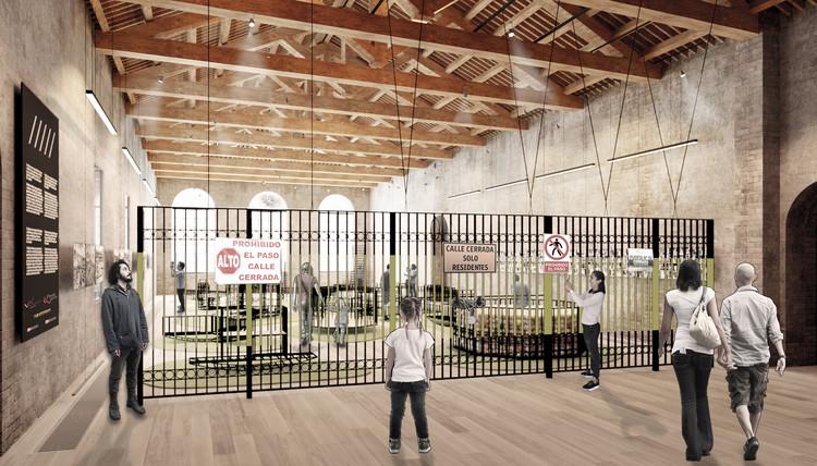 """Pabellón de Perú en la Bienal de Venecia 2020: """"Playground, Artefactos para interactuar"""", Vista del ingreso al Pabellón Peruano en la Bienal de Arquitectura de Venecia 2020. Render: V.Oid. Image Cortesía de Patronato Cultural del Perú"""