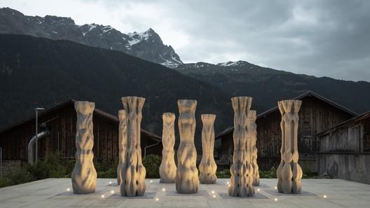3D Printed Concrete Columns. Image © Benjamin Hofer