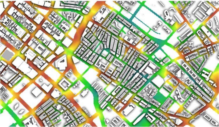 3 formas en que la visualización de datos puede hacer mejores ciudades, Cortesía de Gideon D.P.A. Aschwanden. ImageViento de Punggol: Modelo de procedimiento de Punggol Singapur generado con CityEngine utilizado para estimar el flujo de material y simular el viento con ANSYS que se reproyecta en dos planos a una altura de 25 y 55 metros