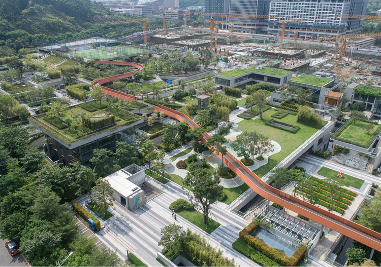 Vanke Community A1-B2 and Bus Station / UV Architecture /Huayi Design, Aerial view of Vanke North Green Gallery. Image © Chao Zhang
