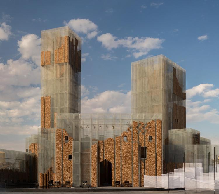 Pabellón de malla de alambre y corcho inspirado en ruinas reflexiona sobre la arquitectura efímera, © Roberto Conte
