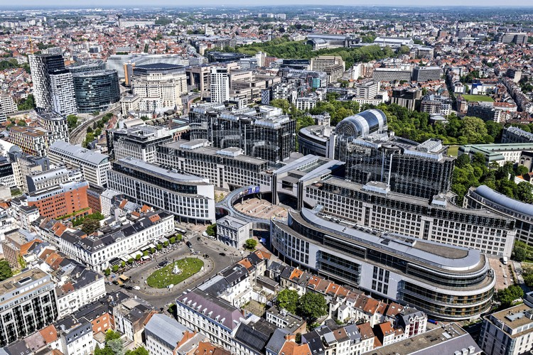 Architectural Design Competition - Renewal of Paul-Henri Spaak building, Brussels - European Parliament site - aerial view