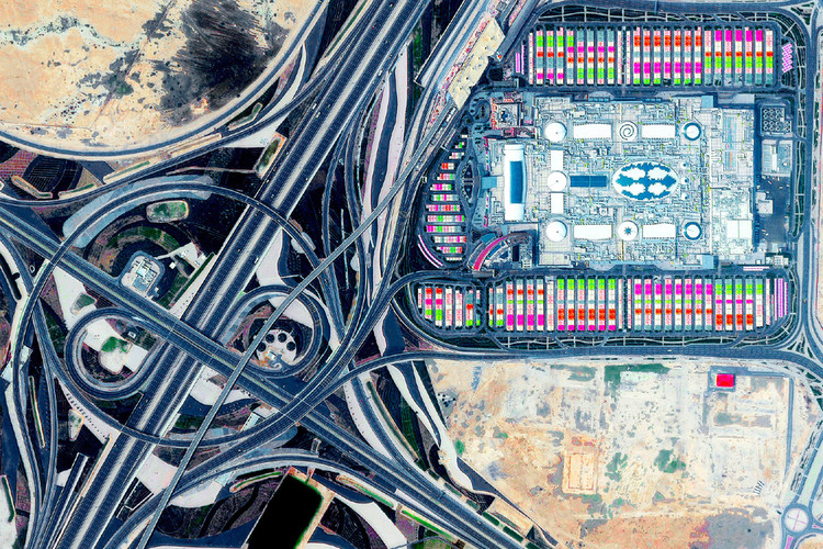 Architecture and the Death of Carbon Modernity, Mall of Qatar at the Rawdat Rashed Interchange, Al Rayyan, Qatar. Postcard image, Log 47: Overcoming Carbon Form. Photo: Maxar Technologies