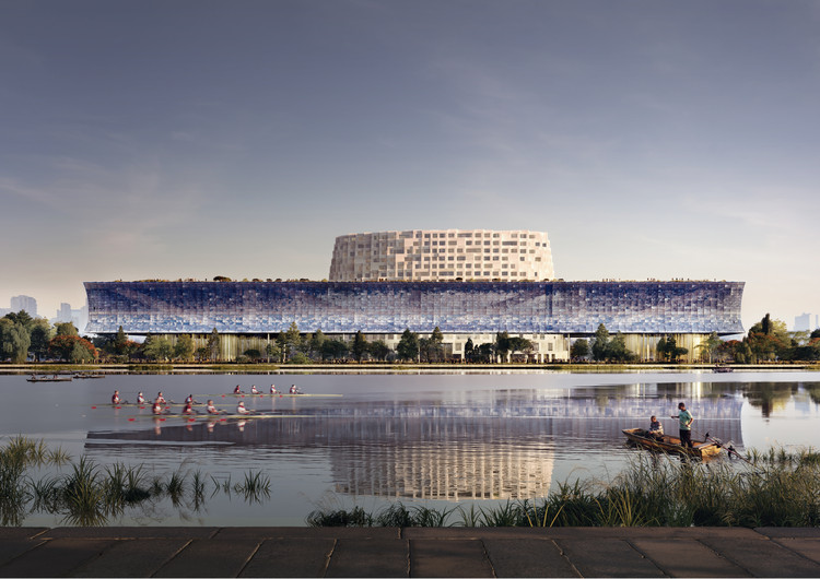 Herzog & de Meuron Releases Conceptual Images of the Grand Canal Museum Complex in Hangzhou, China, Waterfront View. Image Courtesy of Herzog & de Meuron
