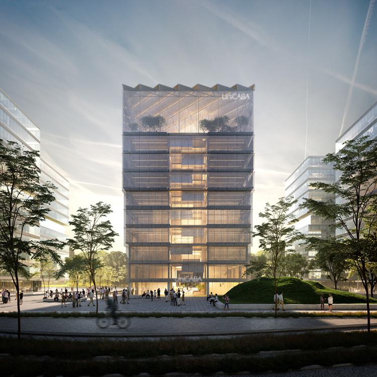 Los ganadores del concurso edificio para la educación del futuro en Argentina, Primer Premio - Perspectiva exterior. Image Cortesía de Ludmila Crippa y  Mariano Alonso.