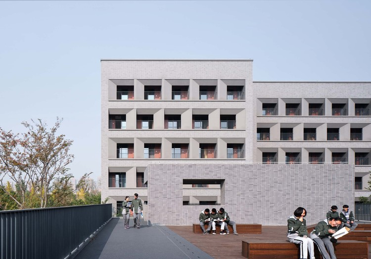 Student Dormitory of Hangzhou No.2 High School Qianjiang Campus / UAD, international conference center 2F platform. Image © ZYStudio