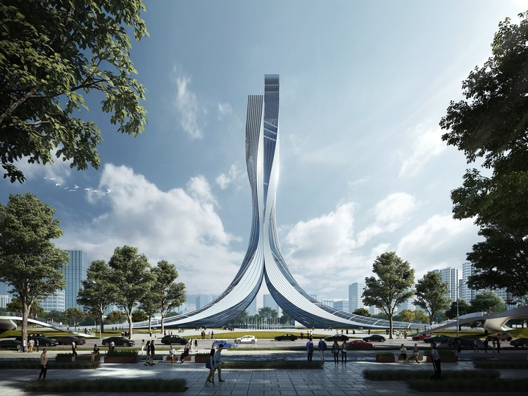 RMJM Creates a 180 Meters Tower for the Xiangjiang Gate in Hunan, China, Courtesy of RMJM