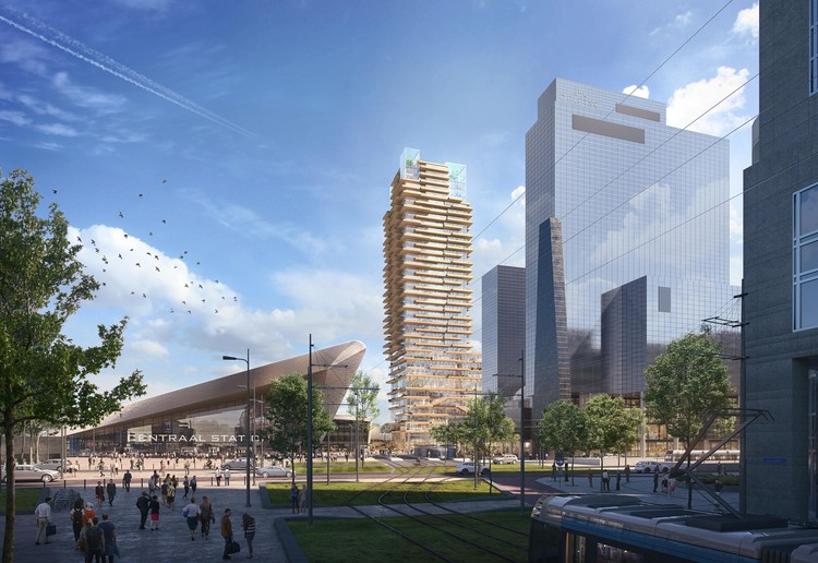 PLP Architecture Designs New Timber Tower for Rotterdam, Courtesy of Wire Collective