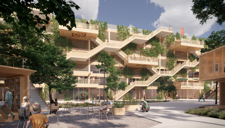 Open Platform y JAJA Architects diseñan el primer complejo de estacionamientos de madera en Dinamarca, Cortesía de JAJA Architects + Open Platform