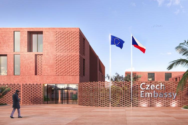 El proyecto de estudiantes ganador del concurso para diseñar la Embajada Checa en Etiopía, Cortesía de Inspireli Awards
