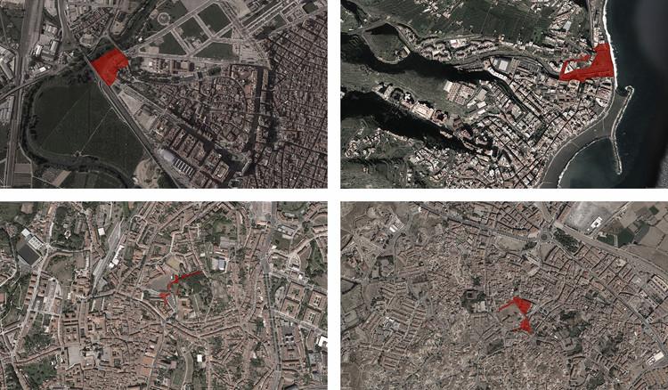 Convocatoria abierta para el Concurso de Arquitectura Richard H. Driehaus, Fotos aéreas con el área de intervención de las cuatro localidades