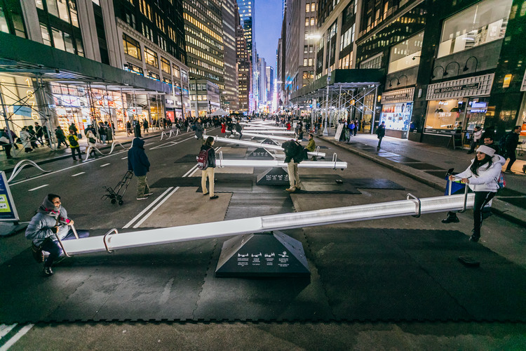 Playful Urban Design Intervention by Lateral Office and CS Design Takes Over New York City's Garment District, © Alexandre Ayer