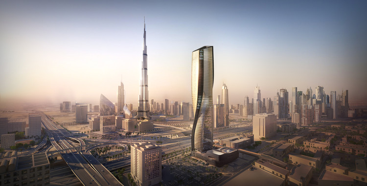 UNStudio Reveals Recent Construction Images of Wasl Tower in Dubai, © Methanoia and Plompmozes