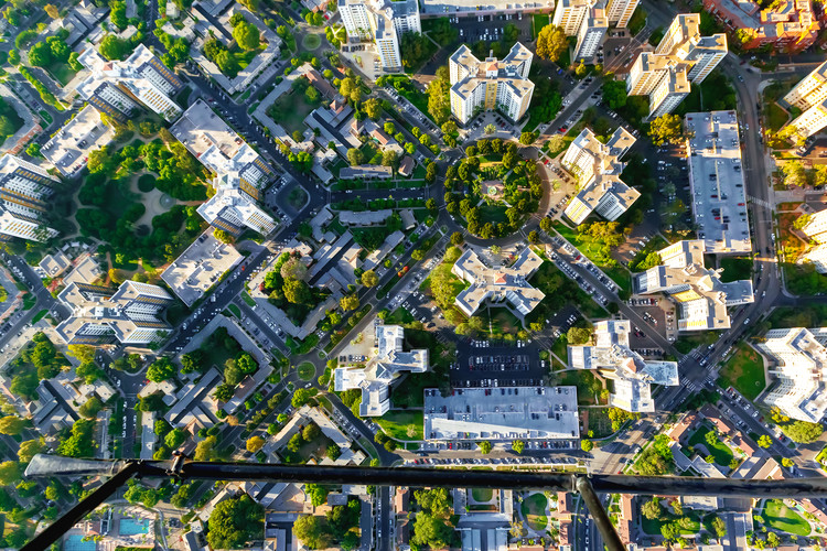 Aerial view of buildings on near Wilshire Blvd in Westwood, Los Angeles, CA. Image © Shutterstock/ By TierneyMJ