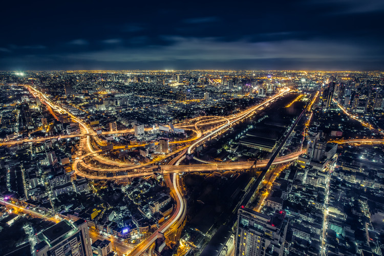 How to Future-Proof Our Cities? 4 Key Initiatives to Increase Resilience , Cityscape Bangkok downtown at night, from the top of tower BAIYOKE Sky, Thailand. Image © Shutterstock/ By JoeZ