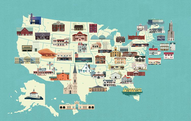 Un homenaje ilustrado a los edificios más amenazados de Estados Unidos, © NetCredit