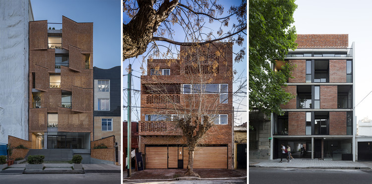 13 Residential Projects that Use Raw Brick Facades, Edifício residencial Saadat Abad / Mohsen Kazemianfard - fundamental approach architects. Image: © Parham Taghioff; OZ 3459 / estudiotrama + arqtipo. Imagem: © Federico Kulekdjian; Aráoz 967 / BAAG. Imagem: © Javier Agustín Rojas